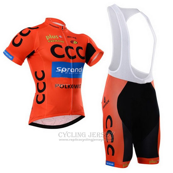 2015 Cycling Jersey CCC Black and Orange Short Sleeve and Bib Short