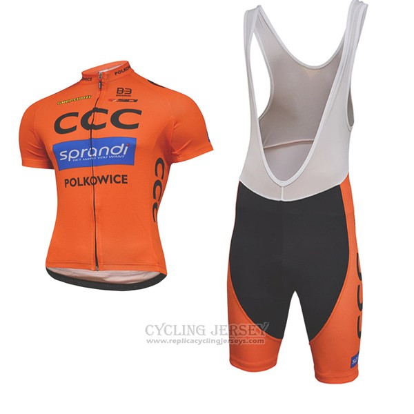 2017 Cycling Jersey CCC Black and Orange Short Sleeve and Bib Short