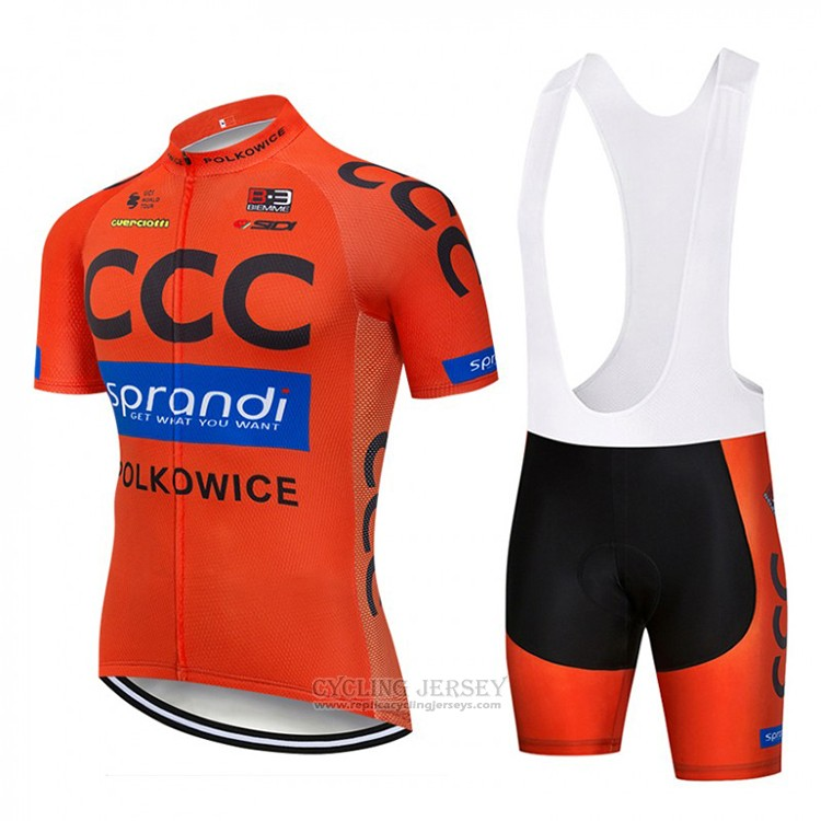 2018 Cycling Jersey CCC Orange Short Sleeve and Bib Short
