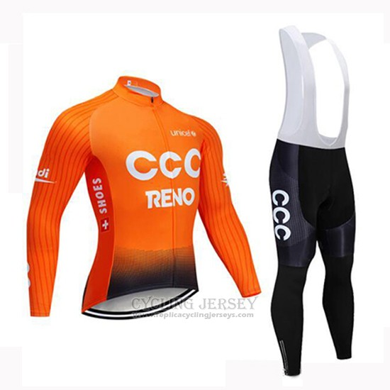 2019 Cycling Jersey CCC Orange Long Sleeve and Bib Tight