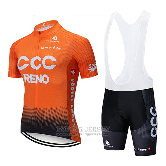 2019 Cycling Jersey CCC Orange Short Sleeve and Bib Short