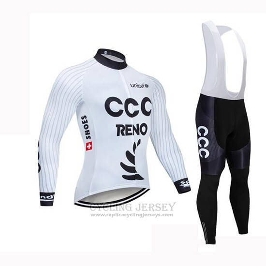 2019 Cycling Jersey CCC White Long Sleeve and Bib Tight