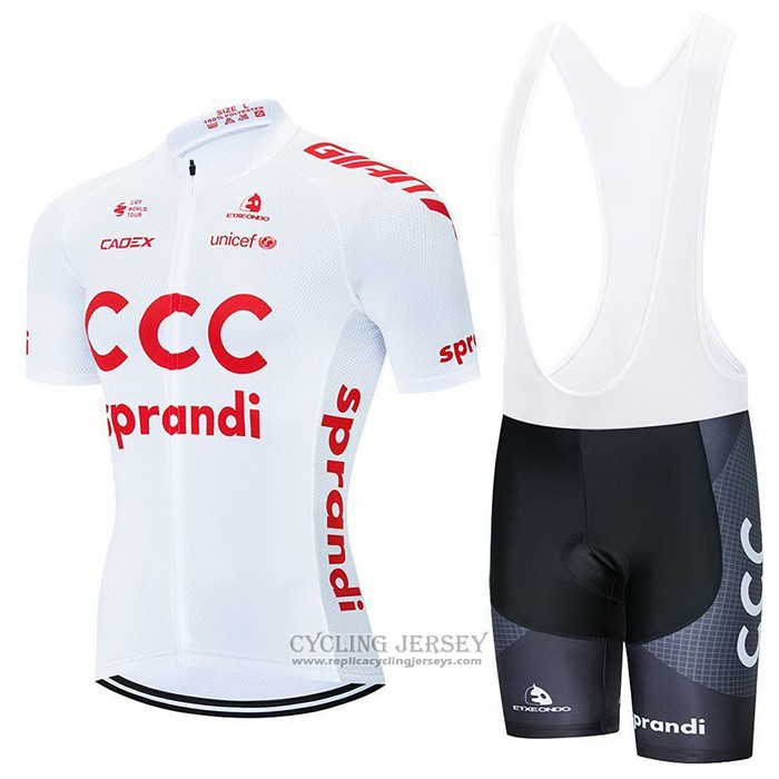 2021 Cycling Jersey CCC Team White Short Sleeve And Bib Short