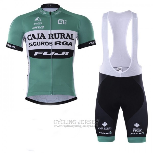 2018 Cycling Jersey Caja Rural Green White Short Sleeve Salopette