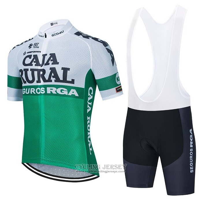 2021 Cycling Jersey Caja Rural White Green Short Sleeve And Bib Short
