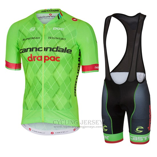 2016 Cycling Jersey Cannondale Drapac Green and Black Short Sleeve and Bib Short