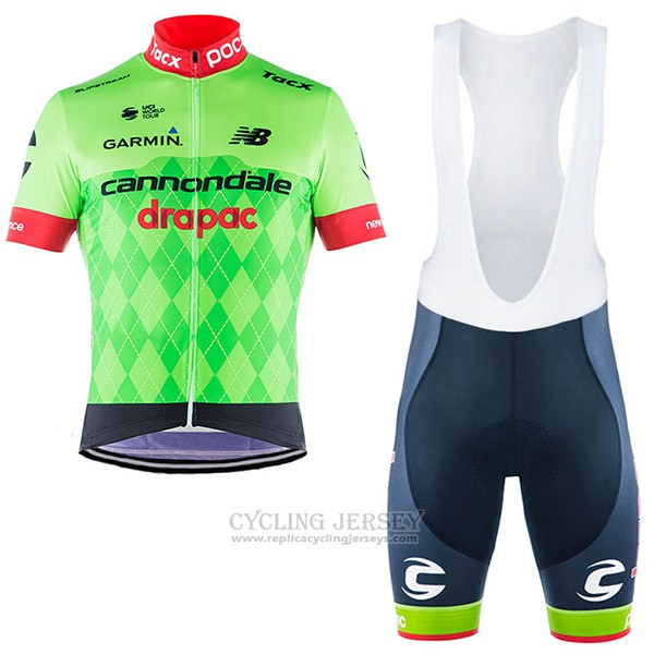 2017 Cycling Jersey Cannondale Drapac Green Short Sleeve and Bib Short