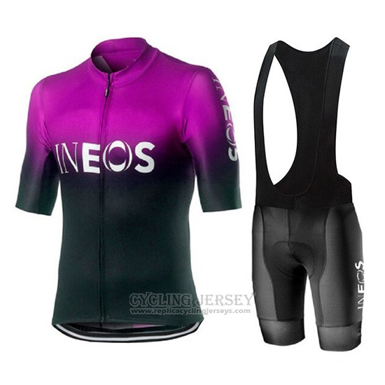 2019 Cycling Jersey Castelli Ineos Black Purple Short Sleeve and Bib Short