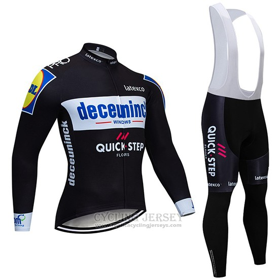 2019 Cycling Jersey Deceuninck Quick Step Black White Long Sleeve and Bib Tight