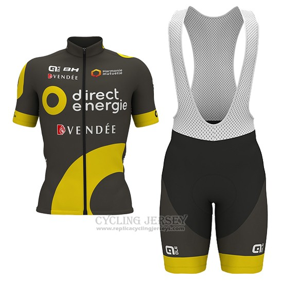 2017 Cycling Jersey Direct Energie Marron Short Sleeve and Bib Short