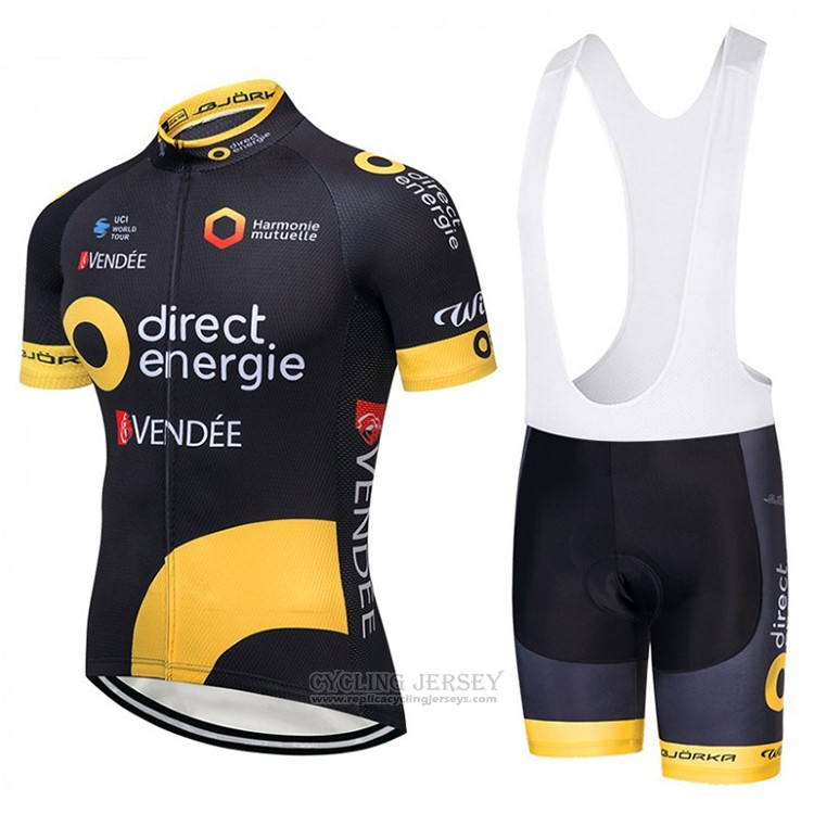 2018 Cycling Jersey Direct Energie Black and Yellow Short Sleeve and Bib Short