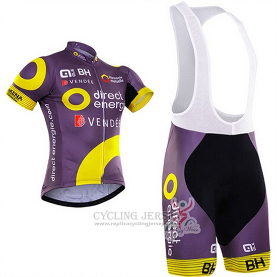 2018 Cycling Jersey Direct Energie Fuchsia and Yellow Short Sleeve and Bib Short
