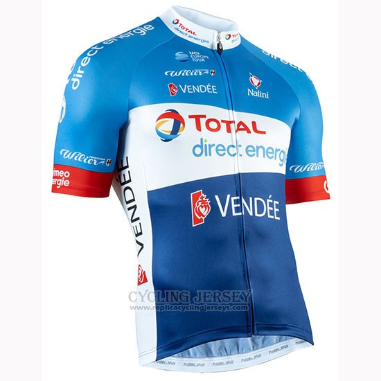 2019 Cycling Jersey Direct Energie Blue White Short Sleeve and Bib Short