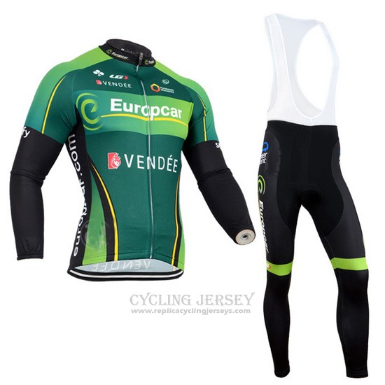 2014 Cycling Jersey Europcar Black and Green Long Sleeve and Bib Tight