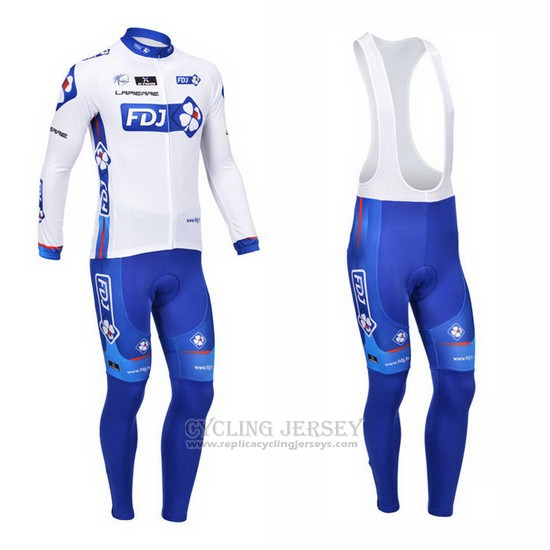 2013 Cycling Jersey FDJ White and Sky Blue Long Sleeve and Bib Tight