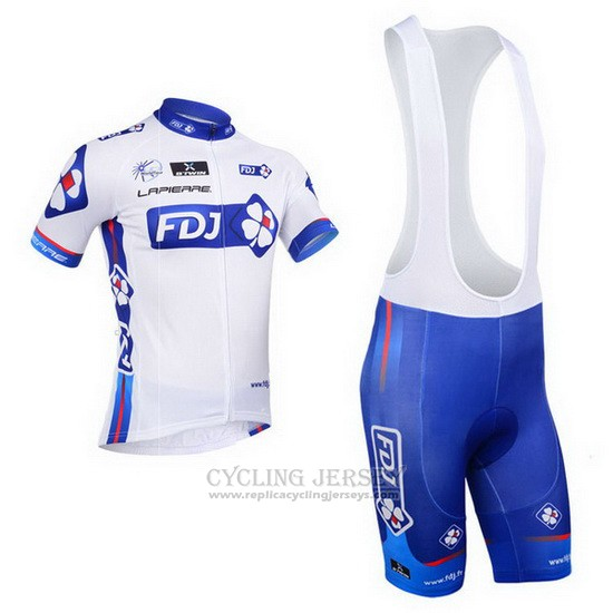 2013 Cycling Jersey FDJ White and Sky Blue Short Sleeve and Bib Short