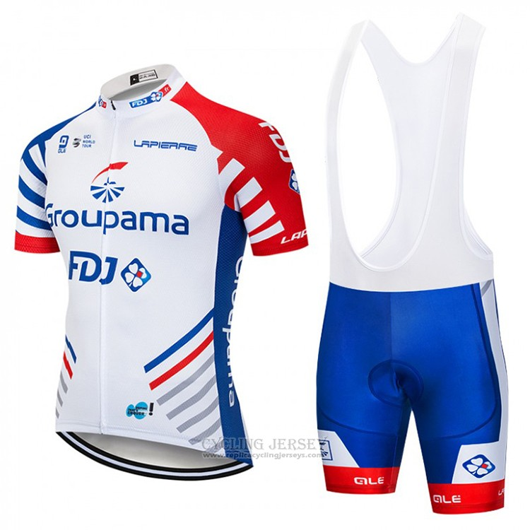 2018 Cycling Jersey FDJ White and Blue Short Sleeve and Bib Short