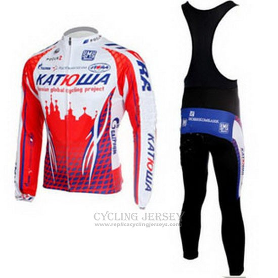 2011 Cycling Jersey Katusha White and Red Long Sleeve and Bib Tight