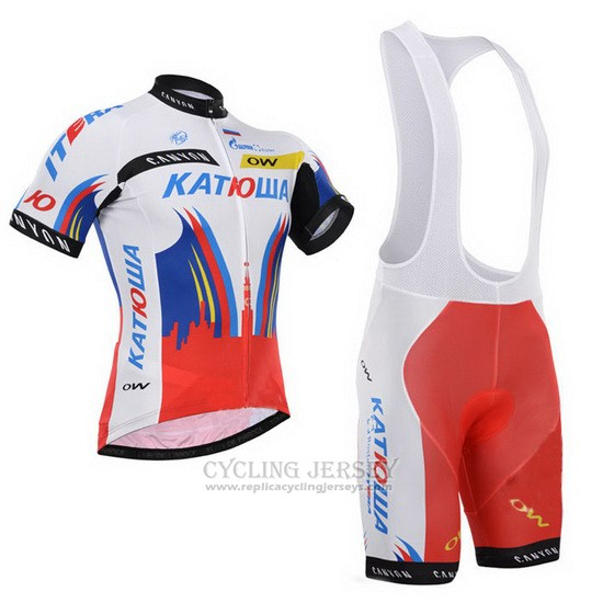 2015 Cycling Jersey Katusha White and Red Short Sleeve and Bib Short