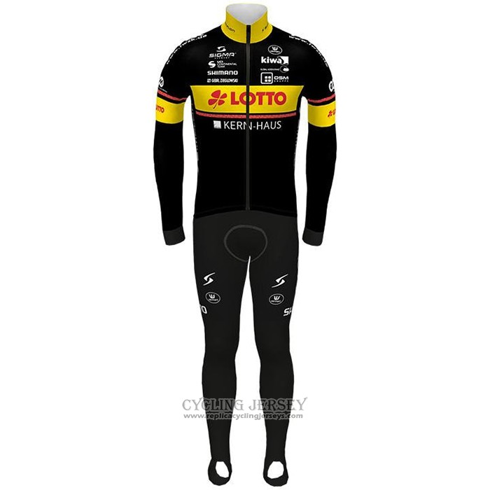 2021 Cycling Jersey Lotto-kern Haus Black Yellow Long Sleeve And Bib Tight
