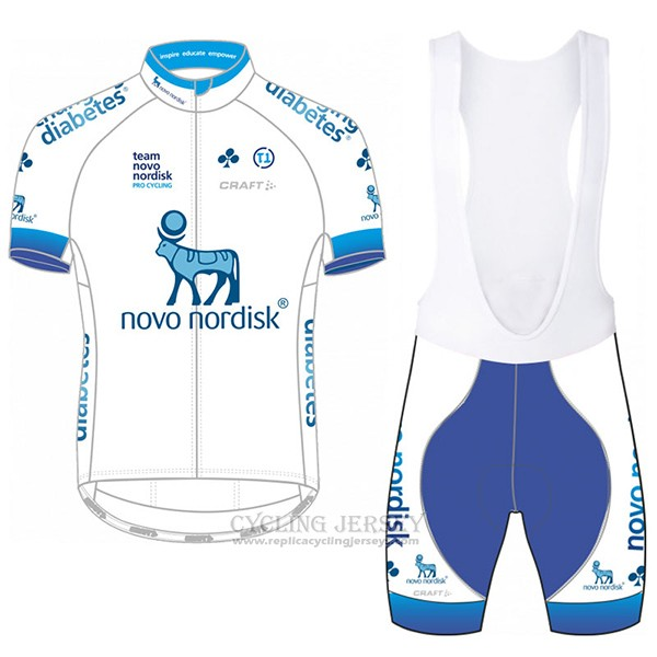 2017 Cycling Jersey Novo Nordisk White Short Sleeve and Bib Short