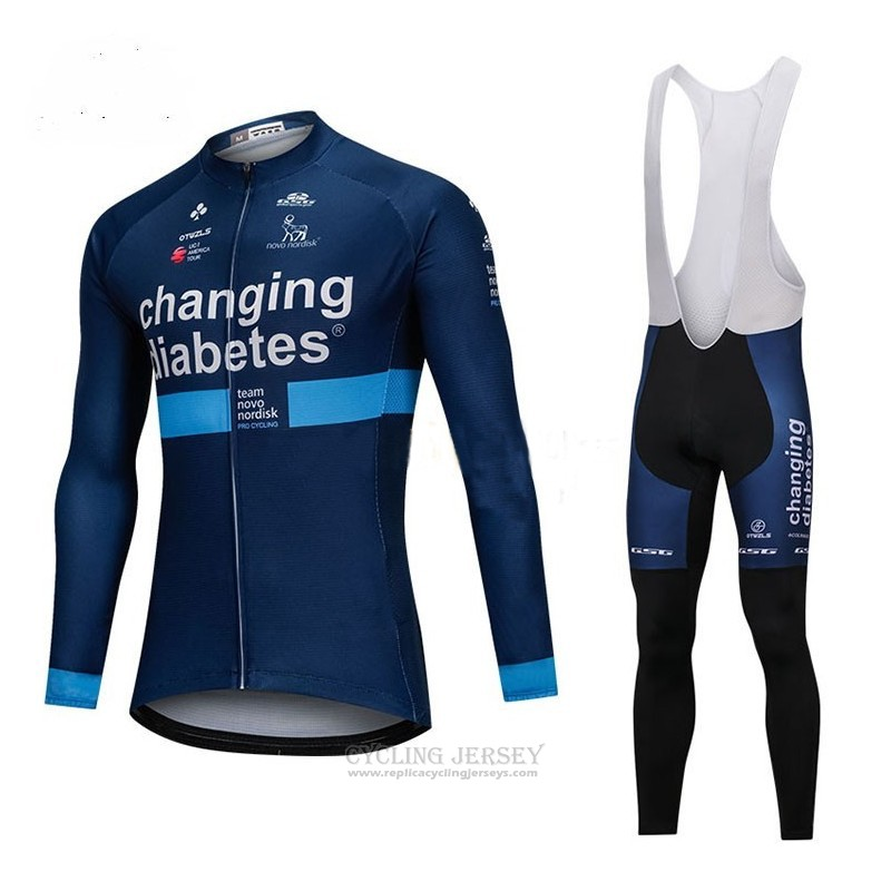 2018 Cycling Jersey Changing Diabetes Blue Long Sleeve and Bib Tight