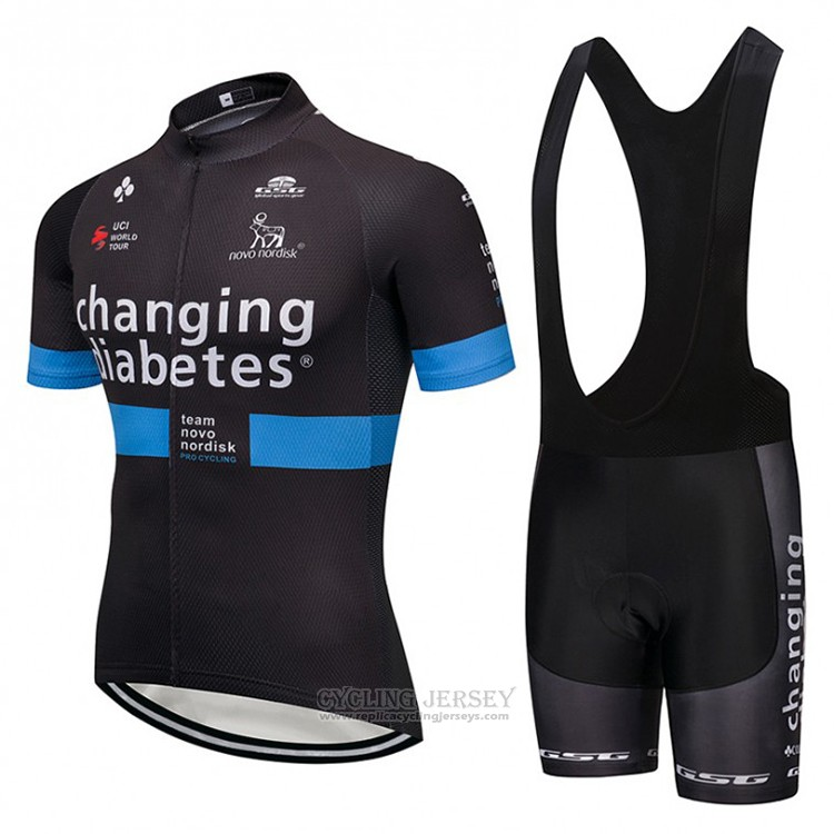 2018 Cycling Jersey Novo Nordisk Black and Blue Short Sleeve and Bib Short