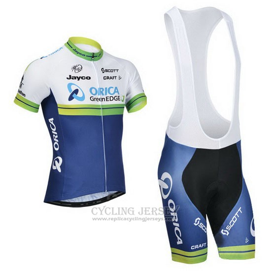 2014 Cycling Jersey Orica GreenEDGE White and Blue Short Sleeve and Bib Short