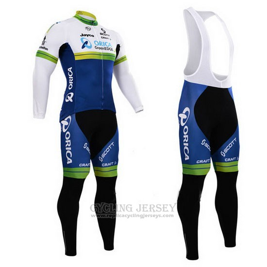 2015 Cycling Jersey Orica GreenEDGE Blue and White Long Sleeve and Bib Tight