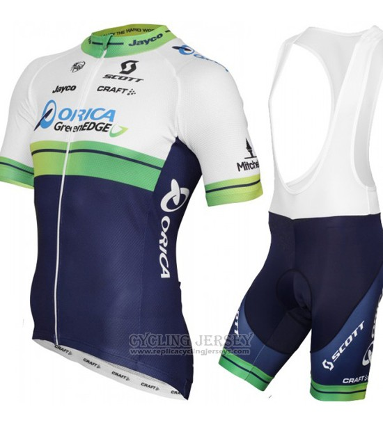 2015 Cycling Jersey Orica GreenEDGE White and Blue Short Sleeve and Bib Short