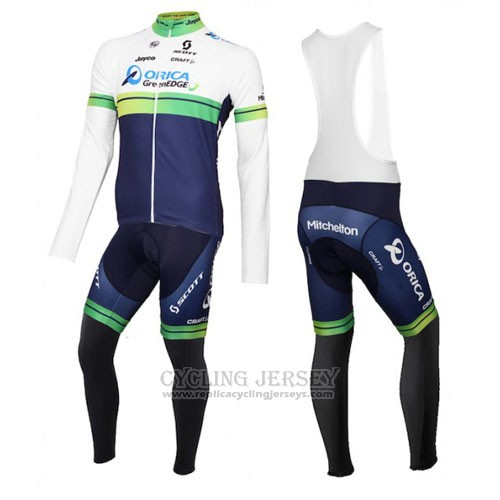 2016 Cycling Jersey Orica GreenEDGE White and Blue Long Sleeve and Bib Tight