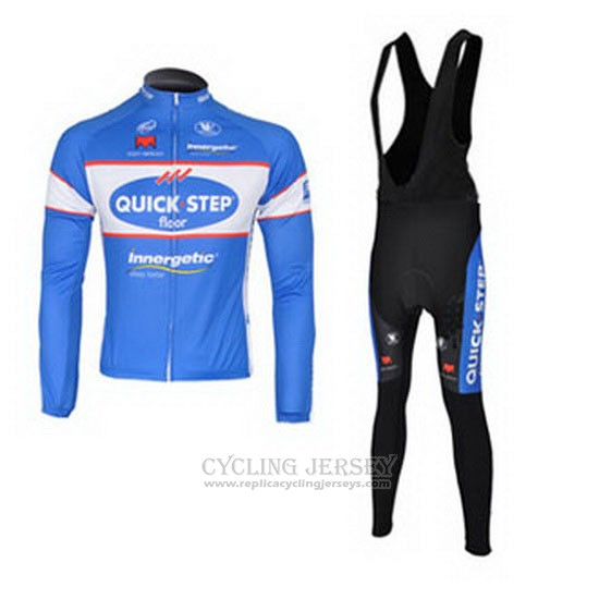 2010 Cycling Jersey Quick Step Floor Sky Blue Long Sleeve and Bib Tight