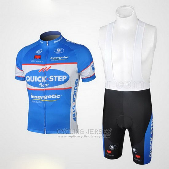 2010 Cycling Jersey Quick Step Floor Sky Blue Short Sleeve and Bib Short