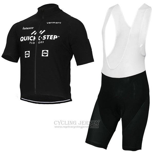 2017 Cycling Jersey Quick Step Floors Black Short Sleeve and Bib Short