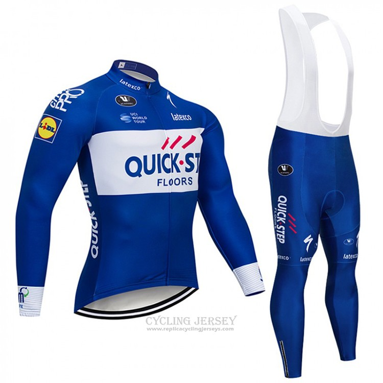 2018 Cycling Jersey Quick Step Floors Blue and White Long Sleeve and Bib Tight