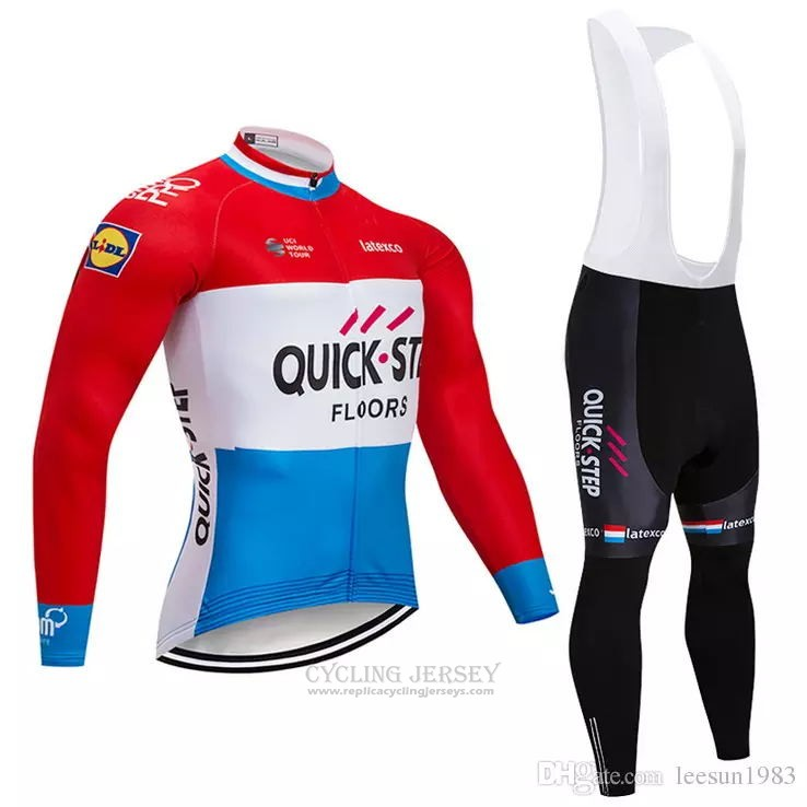 2018 Cycling Jersey Quick Step Floors Red White Blue Long Sleeve and Bib Tight