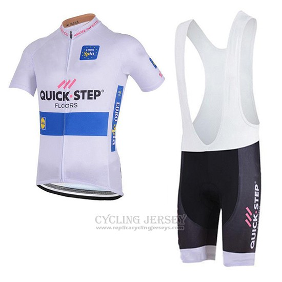 2018 Cycling Jersey Quick Step Floors White Short Sleeve and Bib Short