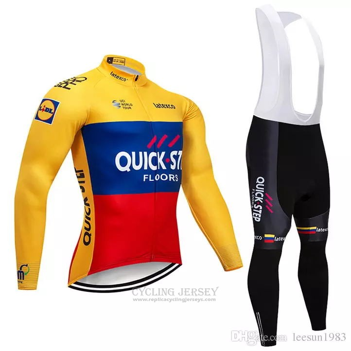2018 Cycling Jersey Quick Step Floors Yellow Blue Red Long Sleeve and Bib Tight