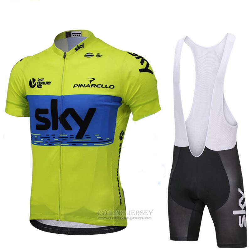 2018 Cycling Jersey Sky Green and Blue Short Sleeve and Bib Short