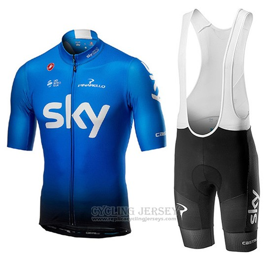 2019 Cycling Jersey Sky Blue Short Sleeve and Overalls