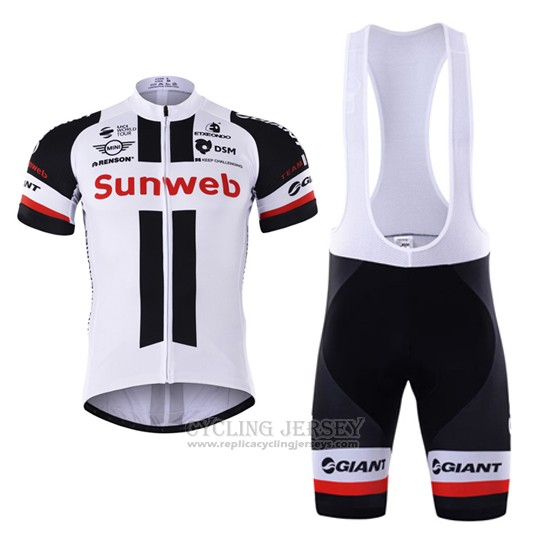 2017 Cycling Jersey Sunweb White Short Sleeve and Bib Short