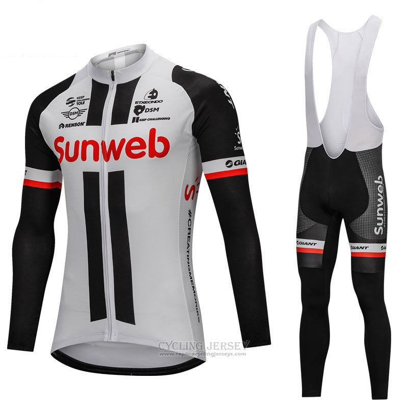 2018 Cycling Jersey Sunweb Gray and Black Long Sleeve and Bib Tight