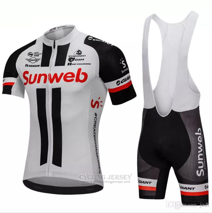 2018 Cycling Jersey Sunweb Gray and Black Short Sleeve and Bib Short
