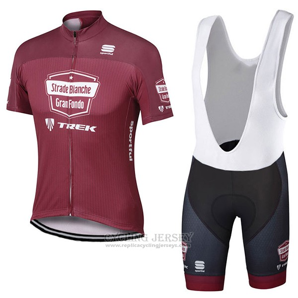 2017 Cycling Jersey Strade Bianche Trek Red Short Sleeve and Bib Short