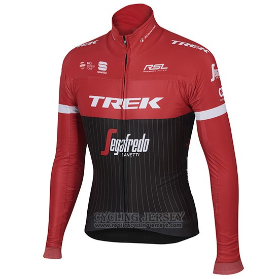 2017 Cycling Jersey Trek Segafredo Black and Red Long Sleeve and Bib Tight