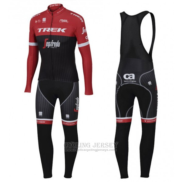 2017 Cycling Jersey Trek Segafredo Red and Black Long Sleeve and Bib Tight