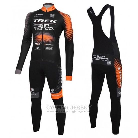 2016 Cycling Jersey Trek Selle San Marco Black and Orange Long Sleeve and Bib Tight