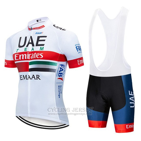 2019 Cycling Jersey UCI World Champion Uae White Red Short Sleeve and Bib Short