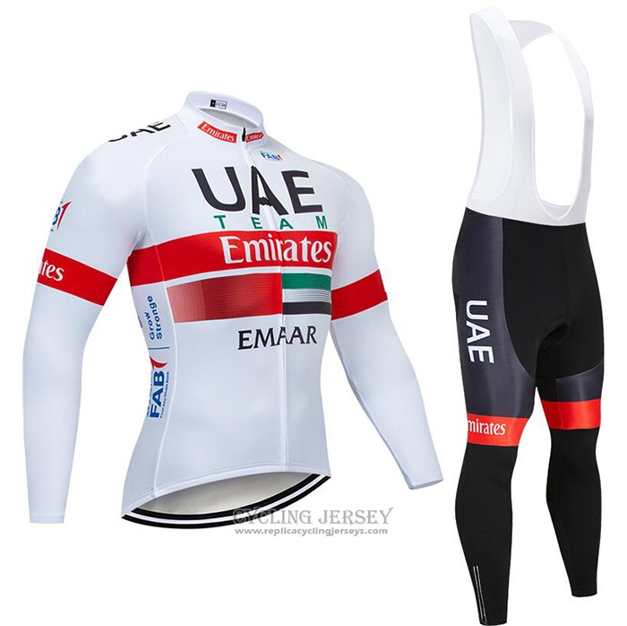 2020 Cycling Jersey UAE White Red Long Sleeve And Bib Tight