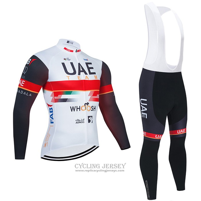 2021 Cycling Jersey UAE White Long Sleeve And Bib Tight